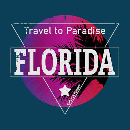 FLORIDA Retro 80s Vector Illustration for T-shirt with Palms