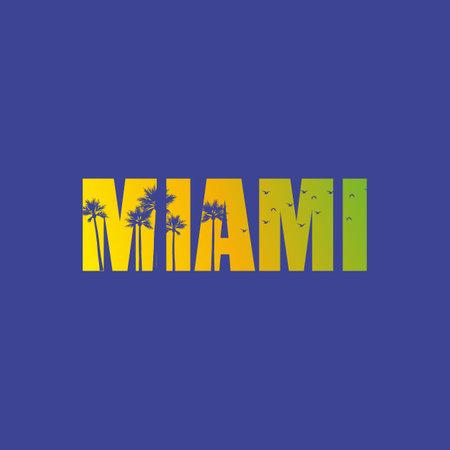 Miami Florida. colored lettering design. Decorative inscription. Vintage vector and illustration.