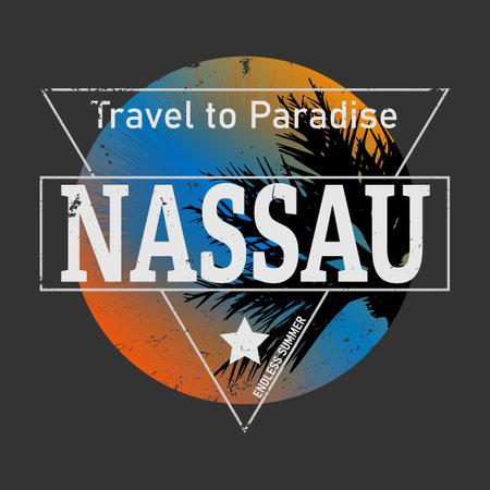 Nassau city is the capital of The Bahamas. Vector decorative object.