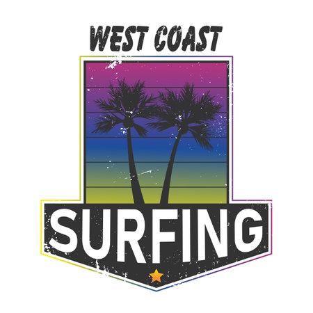 Surfing vintage label. California west coast surfers logo. Vector illustration for surf board design with modern gradient.