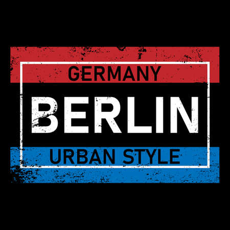Vector illustration Berlin, Germany. Typography, t-shirt graphics, print, poster, banner, flyer, postcard