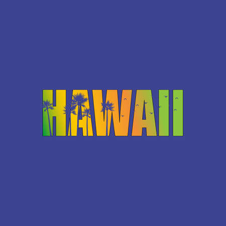 Hawaii. Hand lettering with tiki mask. typography, t-shirt design, vector illustration.
