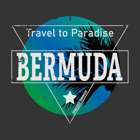 bermuda triangle tee graphic VECTOR ILLUSTRATION on dark background