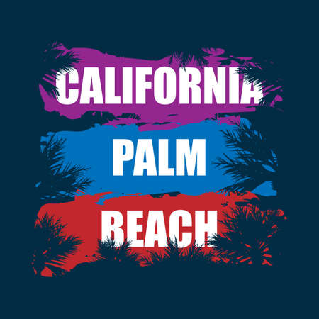 california palm beach. illustration, vectors, t-shirt graphics California apparel t shirt fashion design, summer beach palm tree tee graphic, typographic,art, state west coast travel souvenir