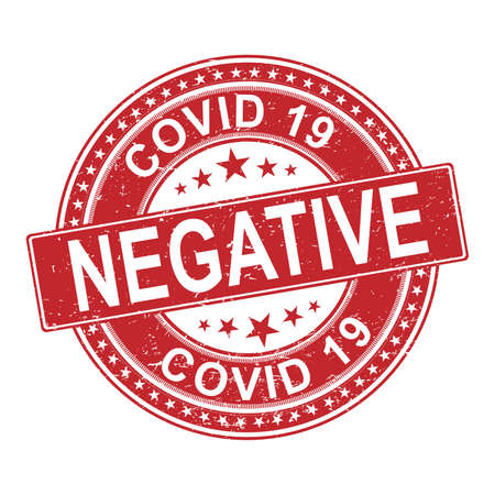 Covid19 virus health test pass circle stamp. 2019 nCov positive and negative round rubber ink mark. Sars cov-2 world pandemy creative design template. EPS10 vector. Illusztráció