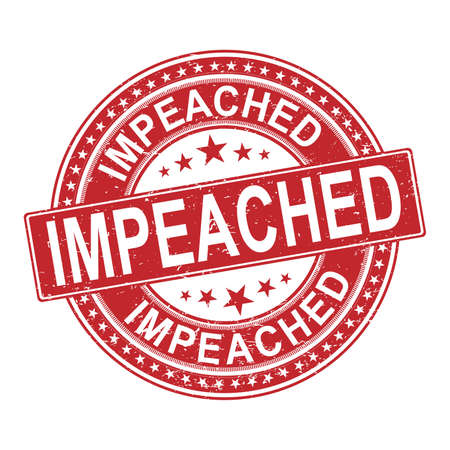 Impeach red rubber ink stamp set over a white background
