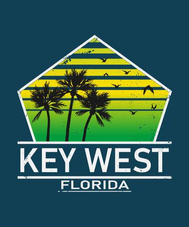 Key West Florida print. Typography design. pattern on shirt. Florida illustration. retro style. - vector illustration