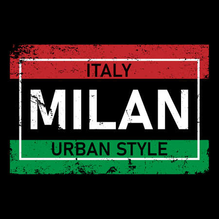 milan cool,t-shirt print poster vector illustration ON BLACK