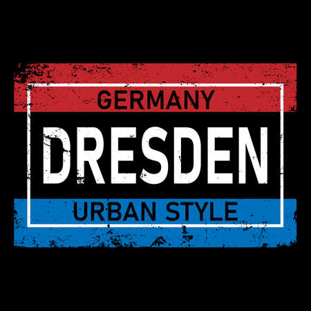 Beautiful hand written text typography design of europe european city dresden name logo for tourism or visit promotion.