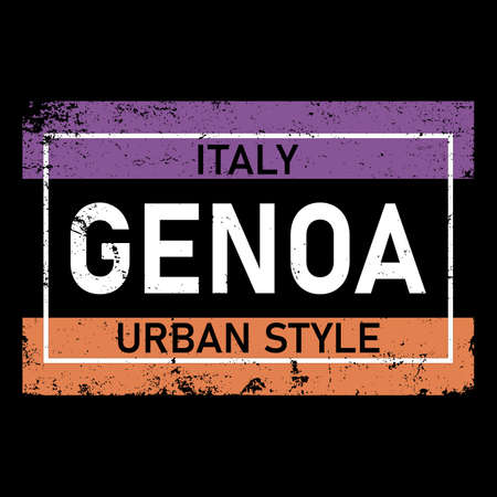 Genoa. Multicolored colorful contrast isolated inscription. Genoa text for prints on clothing, t-shirts, banner, flyer, cards, souvenir. Rainbow colors. Stock vector picture.