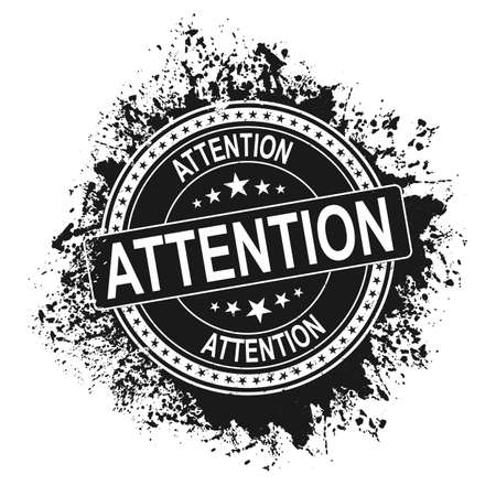 Attention black vintage stamp isolated on white background. attention stamp. attention. attention sign