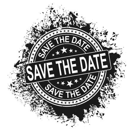 Save the date grunge rubber stamp on white background, vector illustration