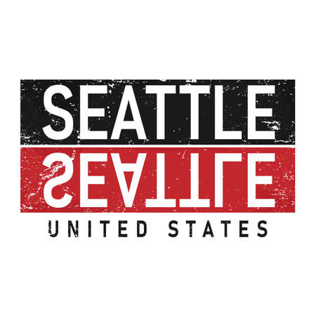 Seattle graphic emblem on dark background. Label for t-shirt. Typography vector design.