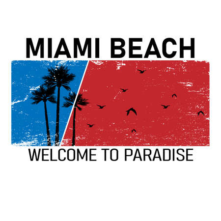 vector illustration, design t-shirt cool graphics, Miami beach