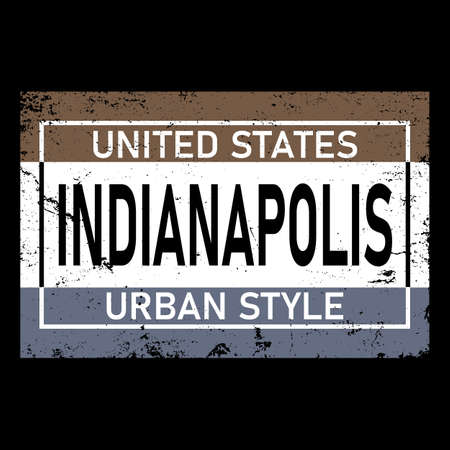 Indianapolis city typography text word lettering. Modern calligraphy text. Black color.