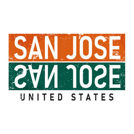 San Jose, USA lettering in original style. US cities typographic script font for prints, advertising, identity. Hand drawn touristic art in high quality. Travel and adventure Illusztráció