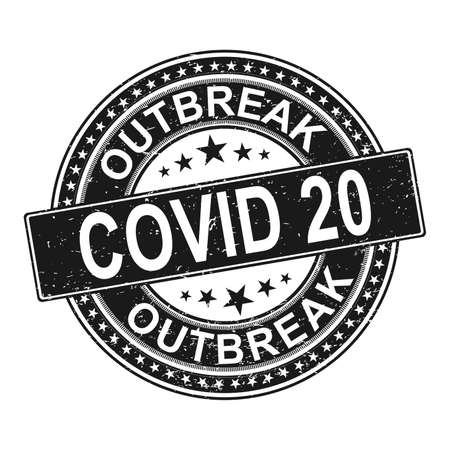 outbreak covid 20 symbol. Coronavirus pandemic puts countries on lockdown. Stop Covid-20. Isolated Vector Icon.