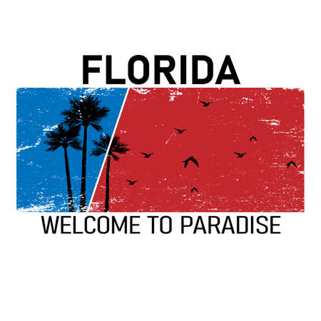 Florida text with palm trees vector illustration for t-shirt and other uses.