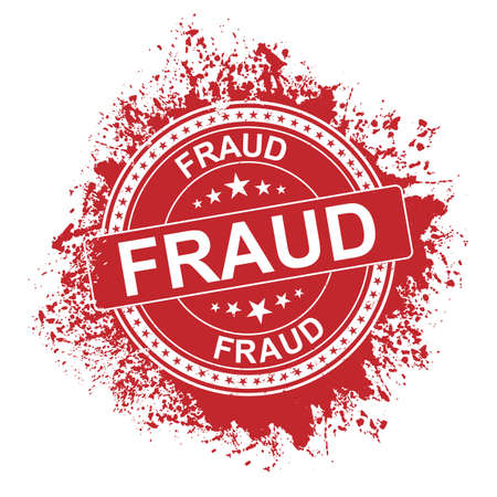 Grungy Fraud Rubber Stamps Campaign Illustration Vector, Red Circle Grunge Fraud Sign, Seal, Mark, Label Design Template
