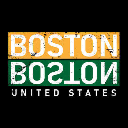 boston T-shirt print design. Vintage round seal stamp. Printing and badge applique label t-shirts, jeans, casual wear. Vector illustration.