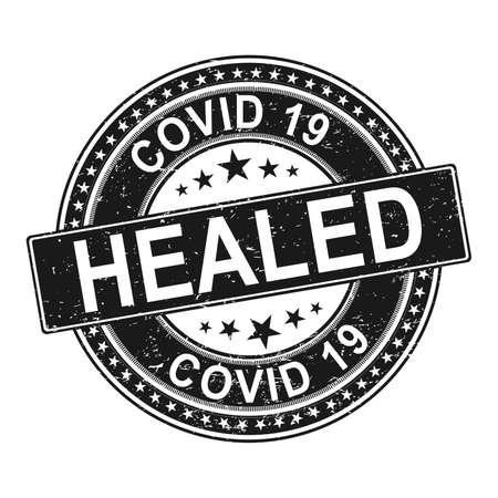 virus healed vector badge. black stamp with viruses cells. Ilustração