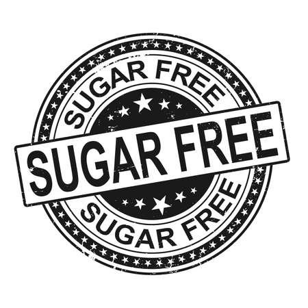 Grunge black sugar free rubber stamp vector on white