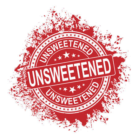 red Unsweetened splash ink rubber stamp on white