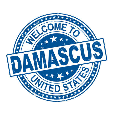 Welcome to Damascus City illustration design rubber stamp vector illustration