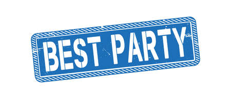 BEST PARTY Rubber Stamp vector over a white background.