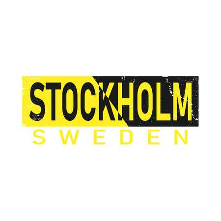 stockholm sweden typography vintage tee graphic, vector illustration design slogan t shirt.