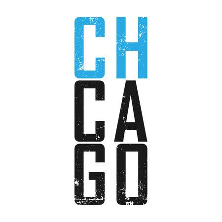 Chicago Illinois tee print. T-shirt design graphics stamp label typography. Vector illustration.
