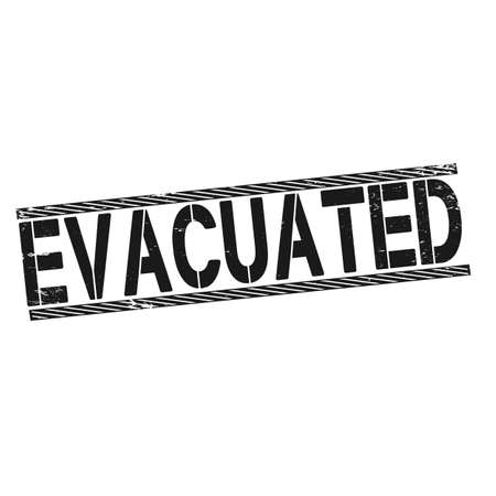 EVACUATION square old stamp text on white.