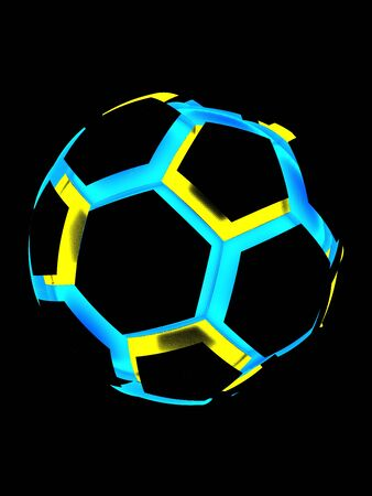 Yellow-Blue Soccer Ball. 3D illustration. 3D CG. High Resolution.