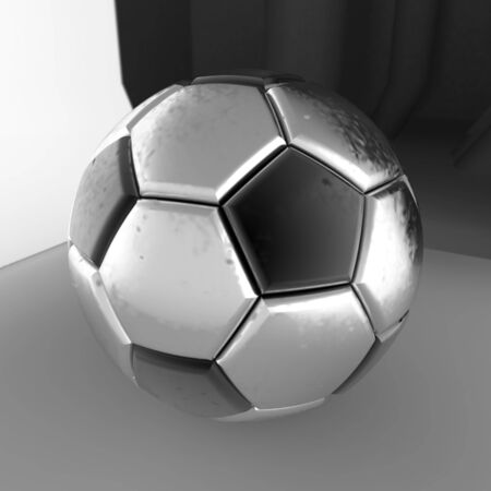 Metallic Soccer Ball. 3D illustration. 3D CG. High Resolution. Imagens