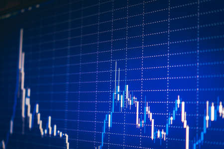 Display of quotes pricing graph visualization under blue background. Financial statistic analysis on dark background with growing financial charts. Stock analyzing. Price chart bars.