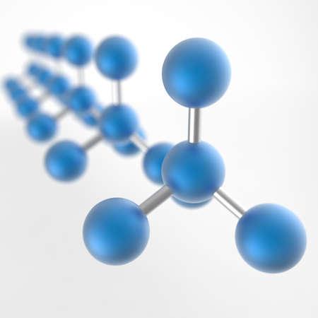 Molecular structure. Atom. 3D illustration. 3D CG.
