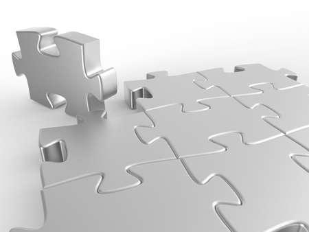 Puzzle. 3D illustration. 3D CG.