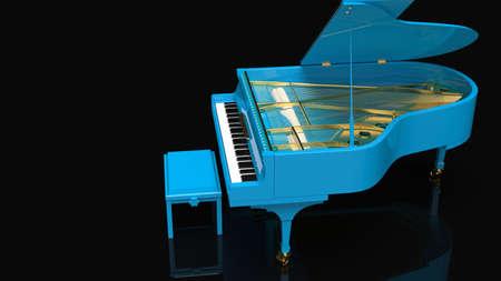 Blue-Gold Grand Piano. 3D illustration. 3D high quality rendering. 3D CG. Zdjęcie Seryjne