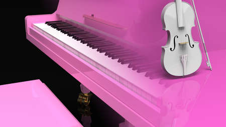 Multi Exposure of Pink Grand Piano and White Violin. 3D illustration. 3D high quality rendering. 3D CG.