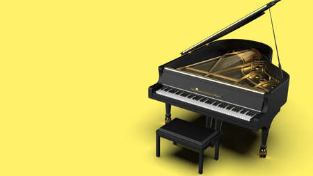 Grand Piano under Yellow Background. 3D illustration. 3D high quality rendering. 3D CG.