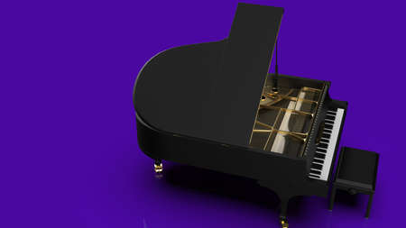 Grand Piano under Purple Background. 3D illustration. 3D high quality rendering. 3D CG. Reklamní fotografie
