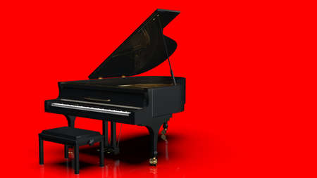 Black-Gold Grand Piano under red background. 3D illustration. 3D high quality rendering. 3D CG.