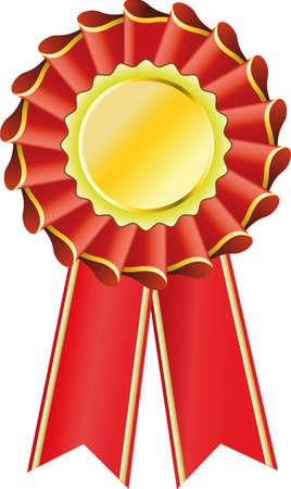 Red award seal rosette, editable illustration Vector