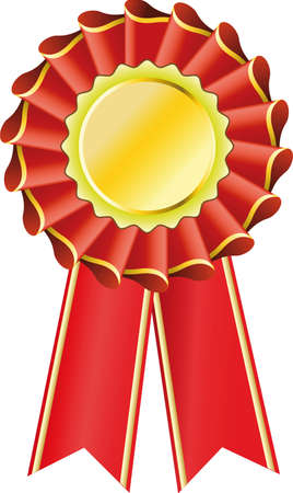 Red award seal rosette, editable illustration Illustration