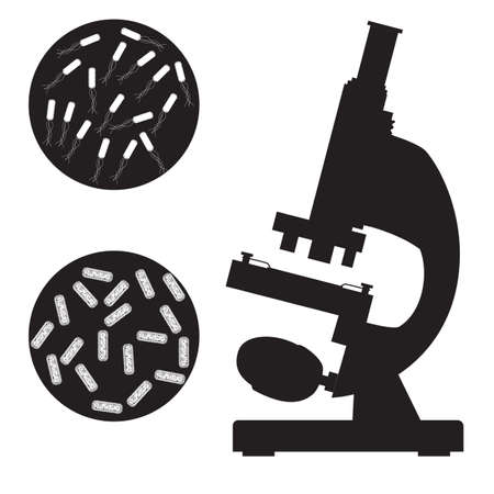 hospital germ: Black medical microscope and bacterium on a white background