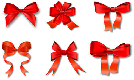 moños navideños: Conjunto de regalo de color rojo se inclina con cintas. Ilustración del vector.