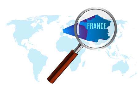 World map with France magnified by louse.