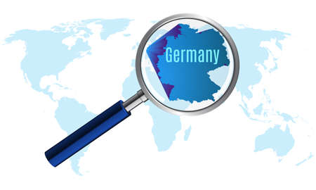 World map with germany magnified by louse.