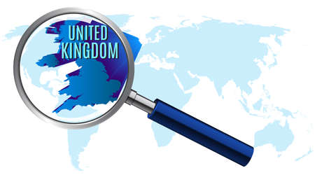 World map with united kingdom magnified by loupe. vector illustration. Illustration