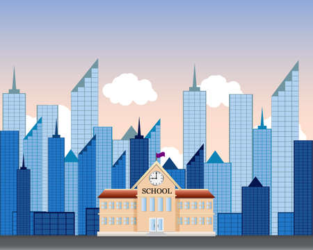 modern illustration: Back To School Building. Vector Illustration . welcome Illustration